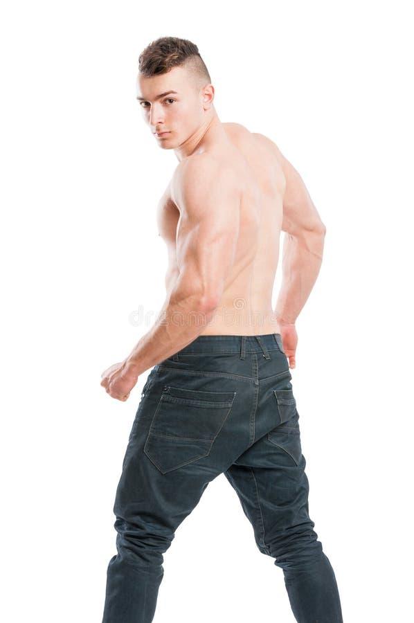 Spier en knap mannetje die aan de camera draaien stock fotografie