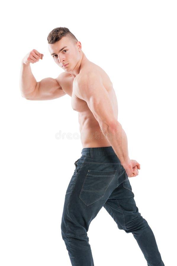 Spier en shirtless mannelijk model royalty-vrije stock fotografie