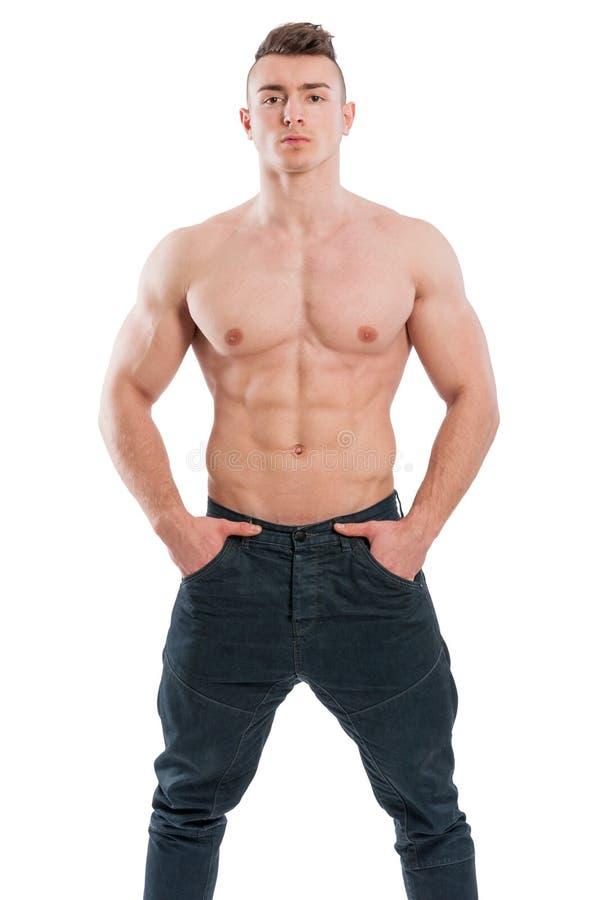 Spier en shirtless mannelijke model status stock foto's