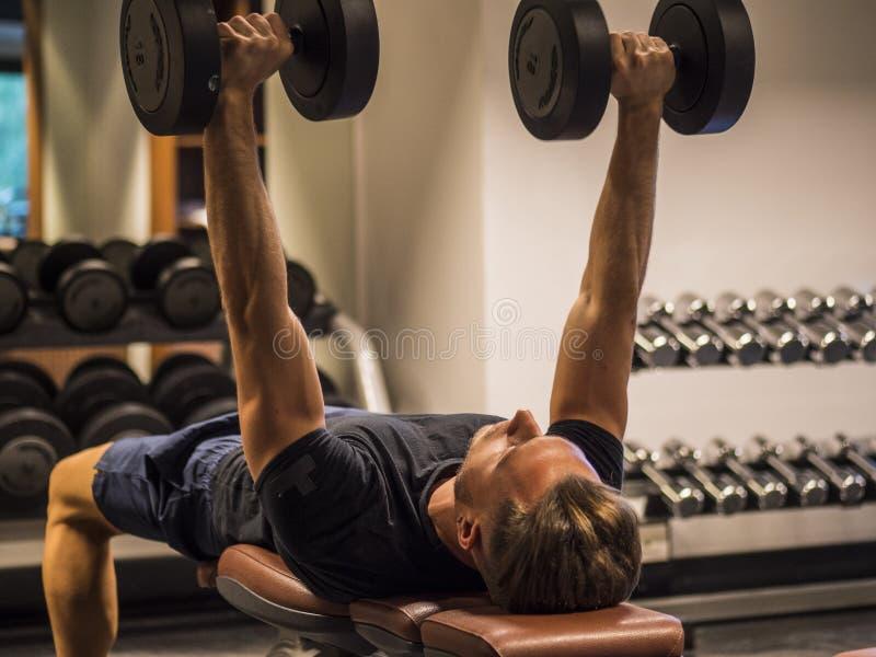 Spier jonge mens, opleiding Pecs op gymnastiekbank stock afbeeldingen