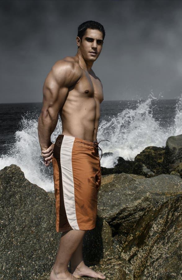 Spier kerel door de oceaan stock fotografie