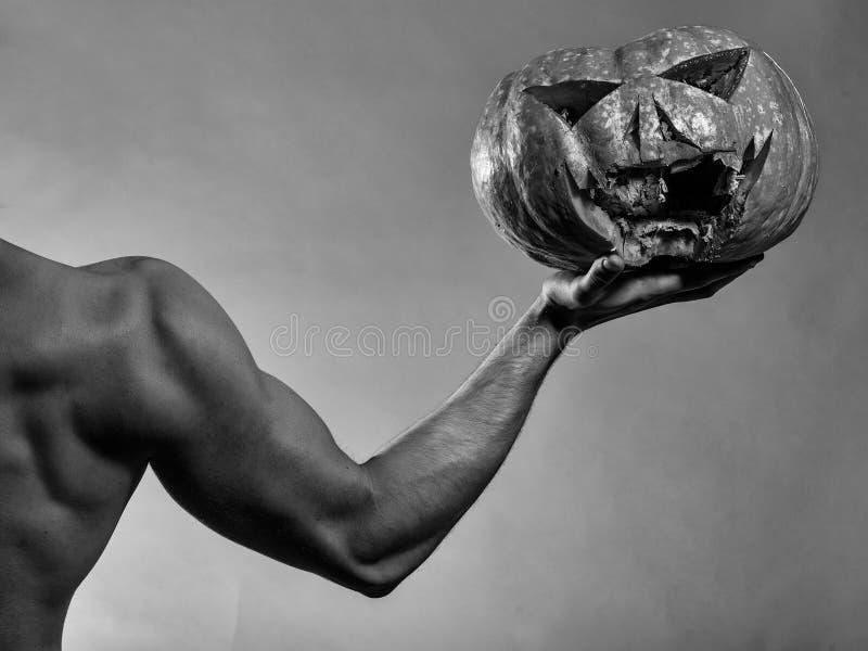 Spier mannelijke hand met pompoen royalty-vrije stock foto's
