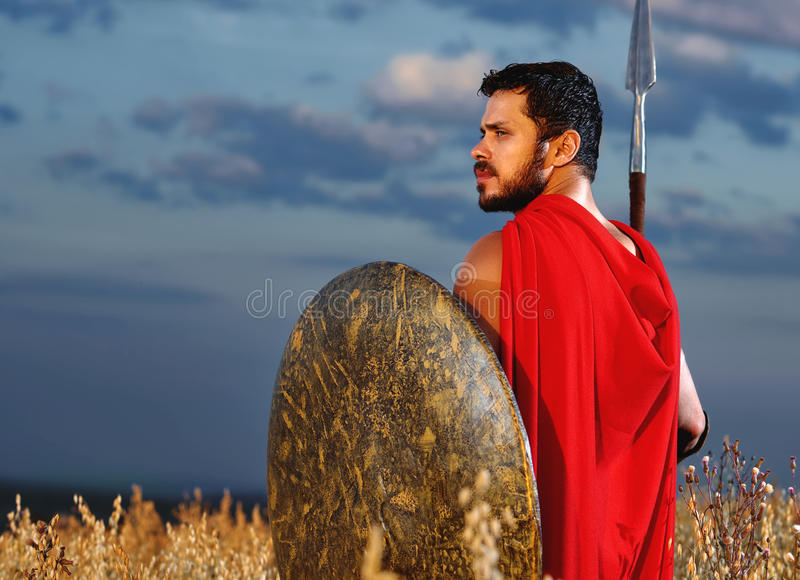 Spier middeleeuwse strijder die zich op het gebied bevinden royalty-vrije stock foto