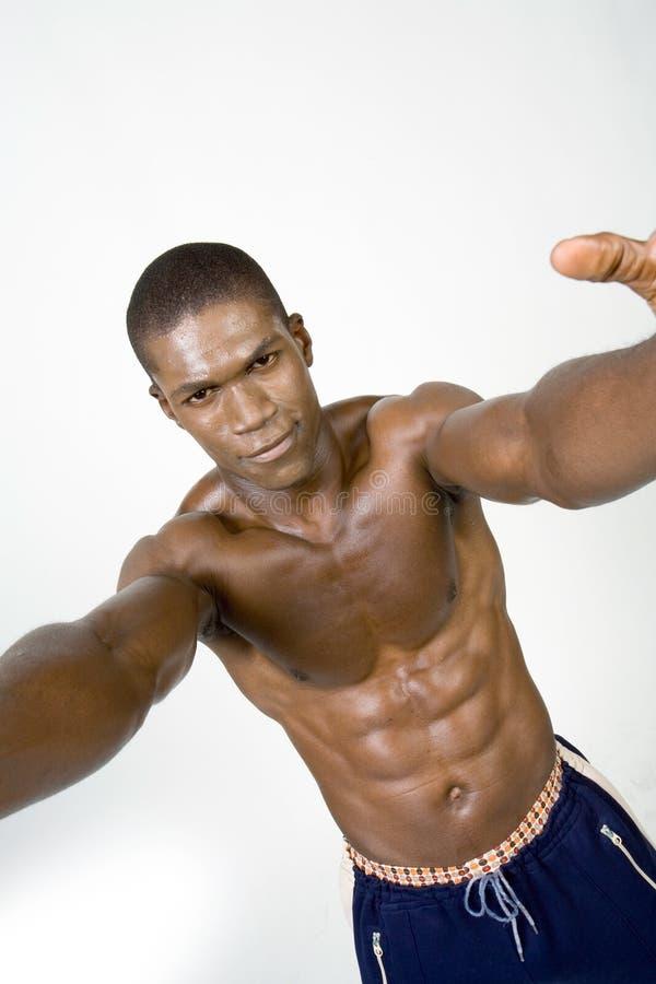 Spier Zwarte atleet royalty-vrije stock afbeelding
