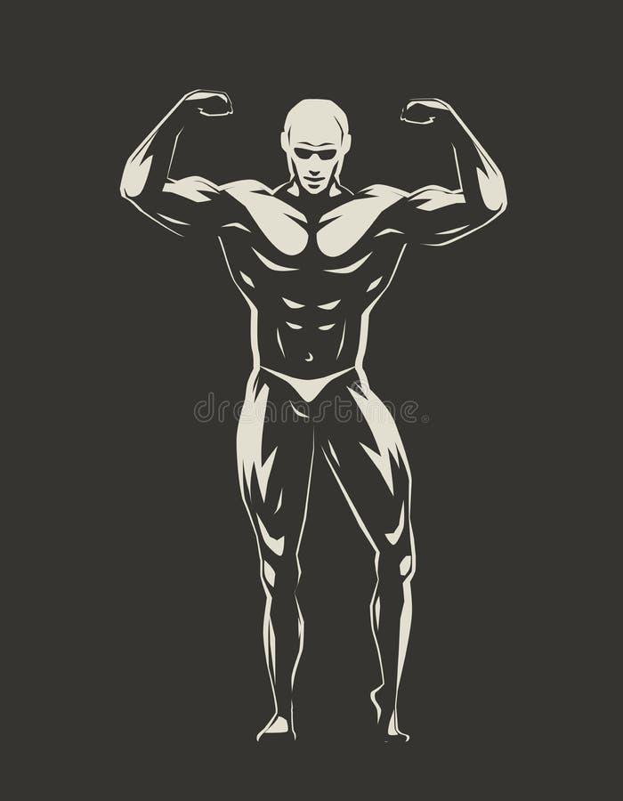 Spierbodybuilder met handen die omhoog sterkte aantonen Gymnastiek, het bodybuilding, sportenconcept Vector illustratie royalty-vrije illustratie