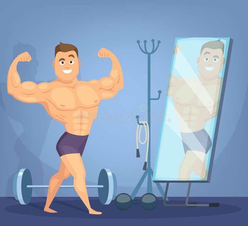 Spiermens die een voorzijde van spiegel stellen De bodybuilder die zich in statisch bevinden stelt vector illustratie