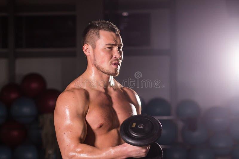 Spiermens die in gymnastiek uitwerken die oefeningen met domoren doen bij bicepsen, sterke mannelijke naakte torsoabs stock foto's
