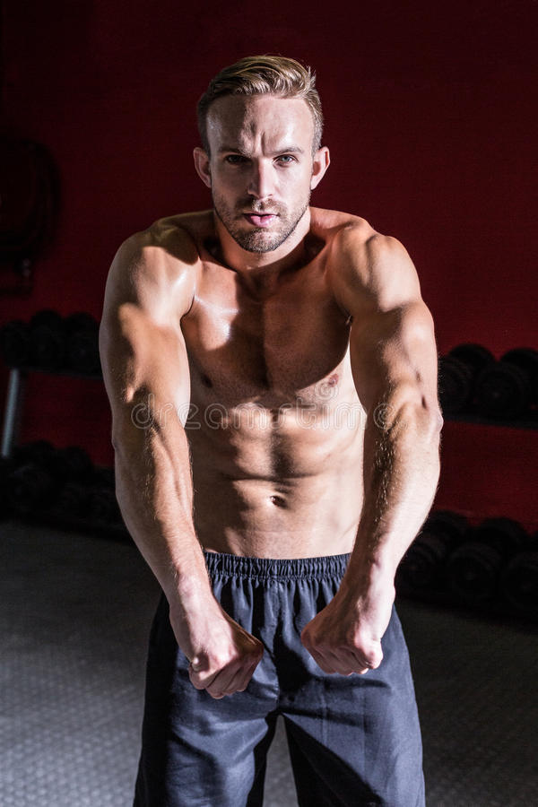 Spiermens die zijn spieren buigen royalty-vrije stock foto's