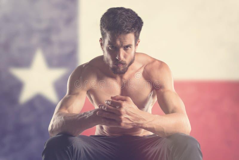 Spiermens met erachter Texas Flag stock foto's