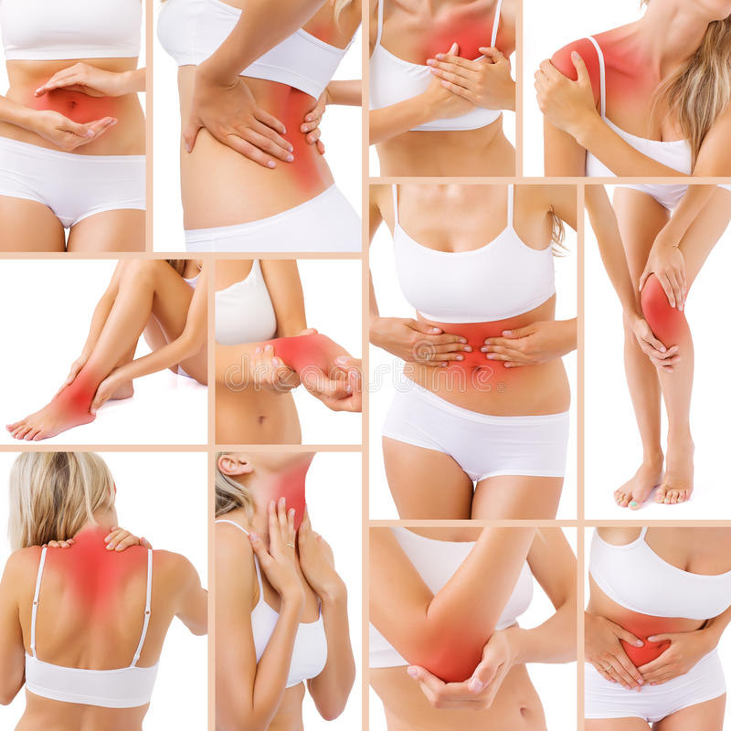 Spierpijn in verschillende delen van lichaam stock afbeeldingen