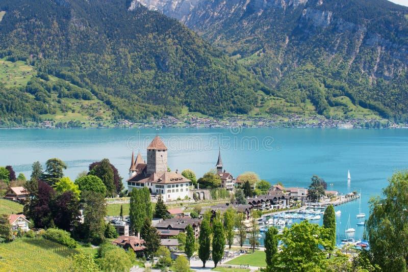 Spiez castle on lake Thun in Bern, Switzerland. royalty free stock photo