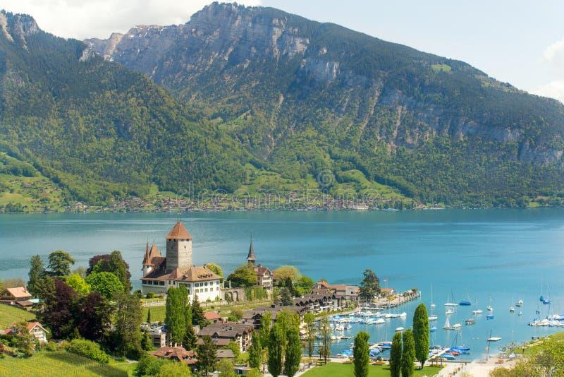 Spiez castle on lake Thun in Bern, Switzerland stock images