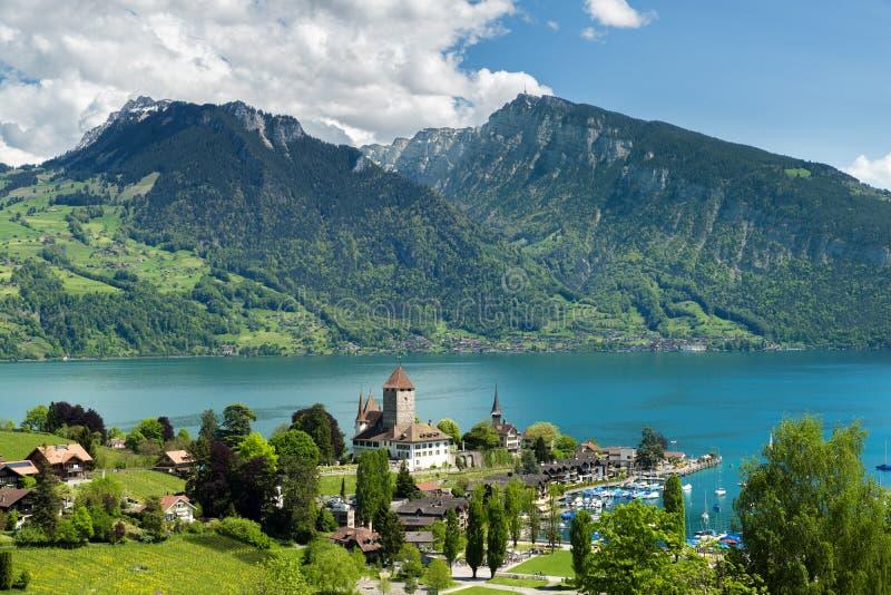 Spiez castle on lake Thun in Bern, Switzerland. royalty free stock photography