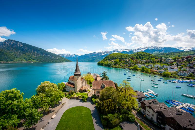 Spiez castle on lake Thun in Spiez in the Bernese Oberland of Switzerland stock photos