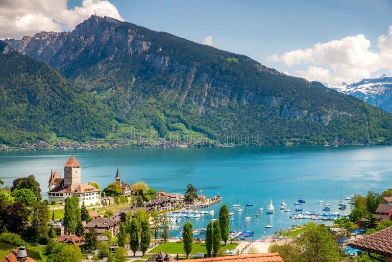Spiez castle on lake Thun in Spiez in the Bernese Oberland of Switzerland stock photography