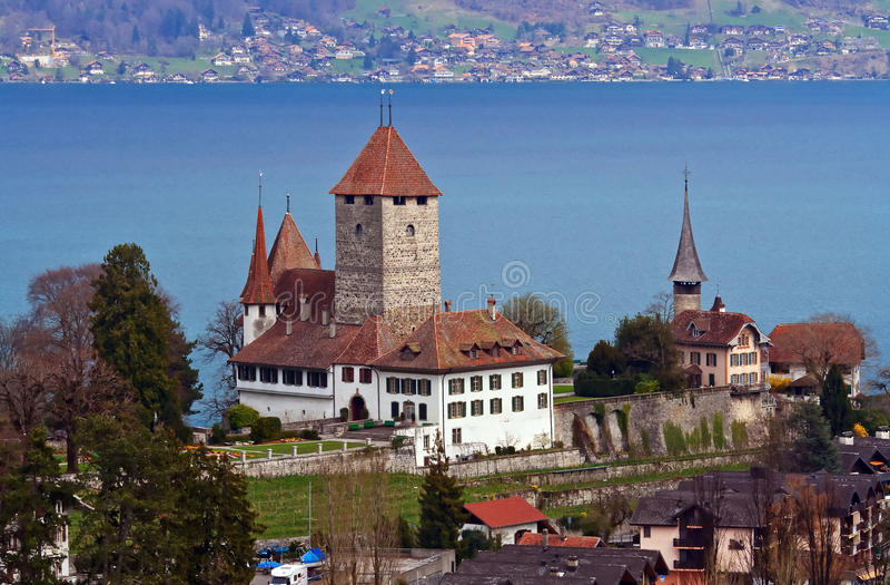 Spiez Castle with Lake of Thun Switzerland stock photos