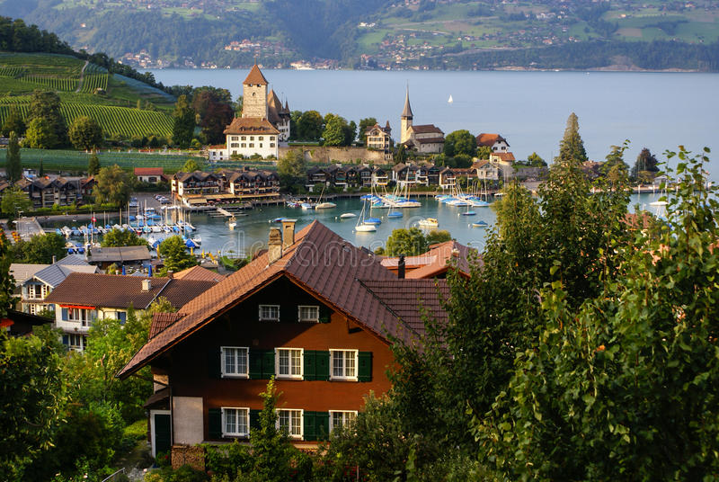 Spiez castle on the lake Thun, Switzerland royalty free stock images