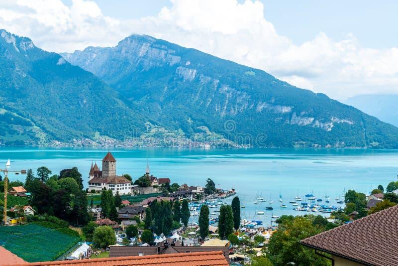 Spiez Castle in Switzerland stock photos