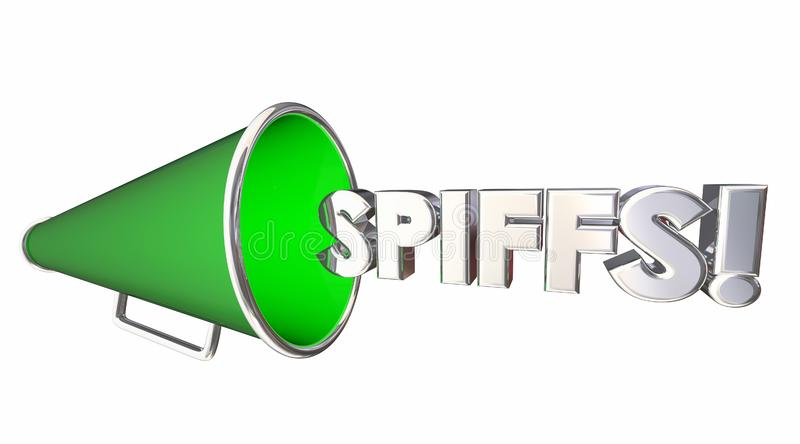 Spiffs Bullhorn Megaphone Incentives Bonus Rewards 3d Illustration royalty free illustration
