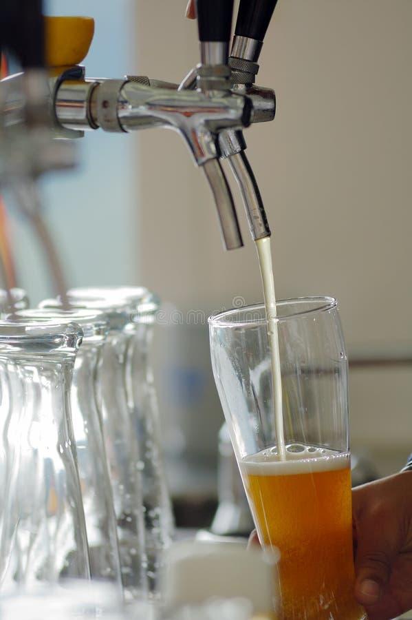 Spigot. A man serves beer