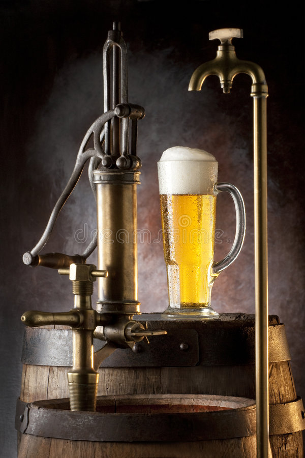 Spigot, and beer. Still life with spigot, and beer stock photos