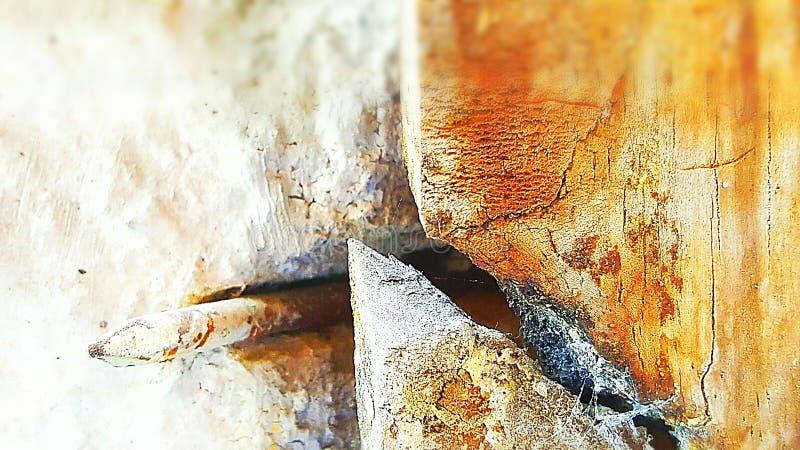 spijker en gebroken hout royalty-vrije stock fotografie