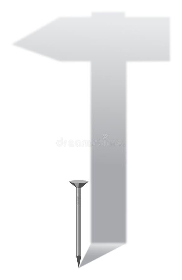 Spijker en hamer stock afbeelding