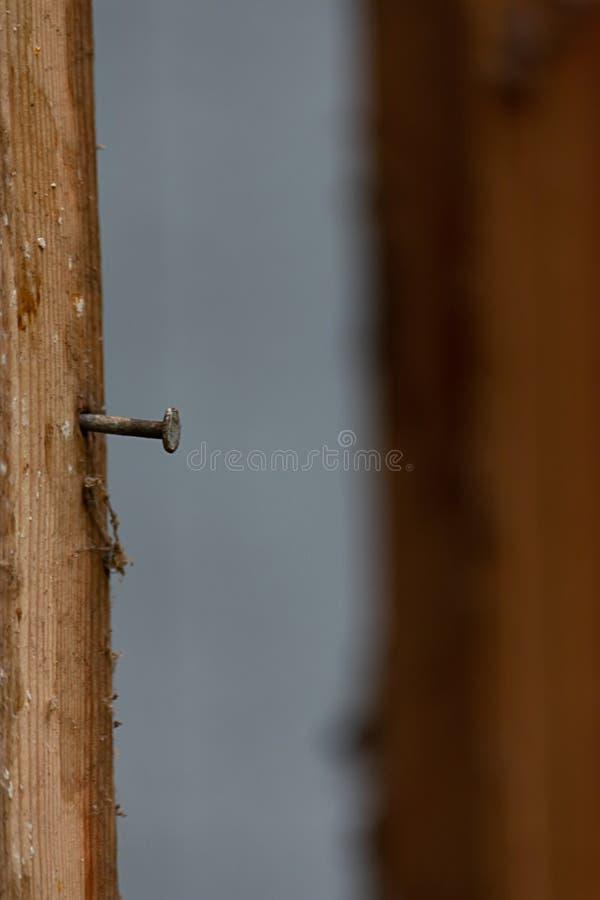 Spijker in het oude houten ontwerpen van huis klaar voor reparatie stock foto