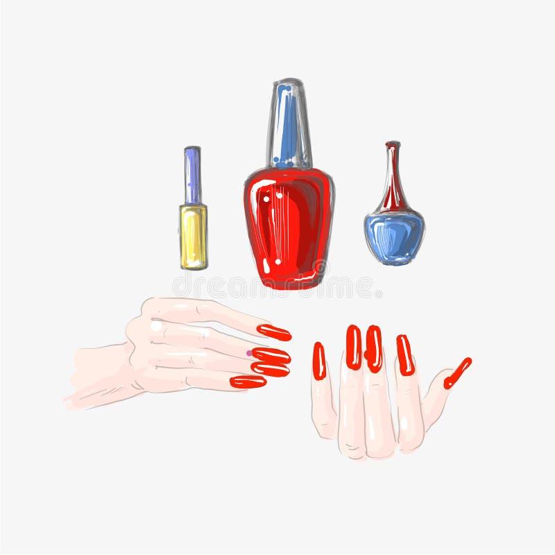 Spijkerkunst en nagellakreeks, mooie vrouwelijke handen met rode spijkers die vector trekken royalty-vrije illustratie