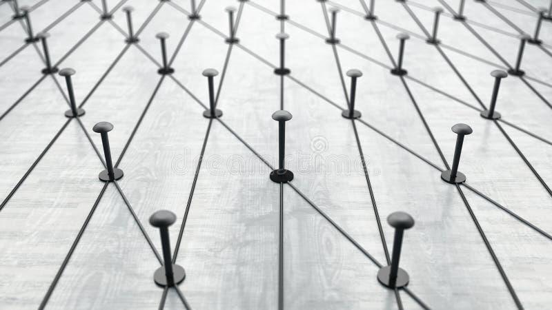 Spijkers met elkaar worden verbonden die Op witte achtergrond Internationale communicatie stock illustratie