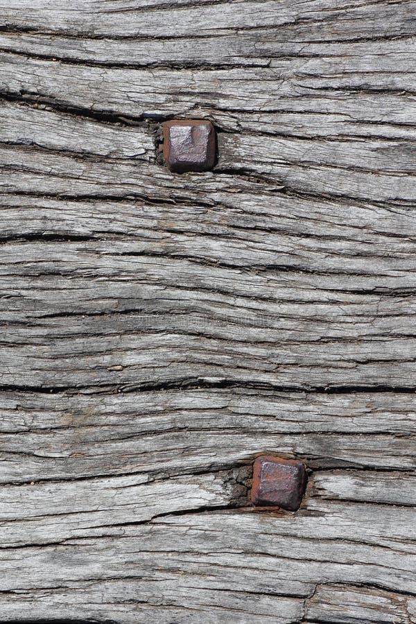 Spijkers in oud hout stock foto