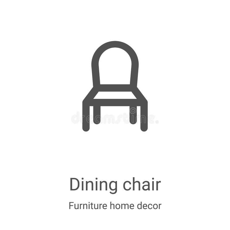 spijkerstoelpictogram van meubeldecor-verzameling Thin line dining, overzicht van het pictogram van het lijnpictogram vectorillus stock illustratie