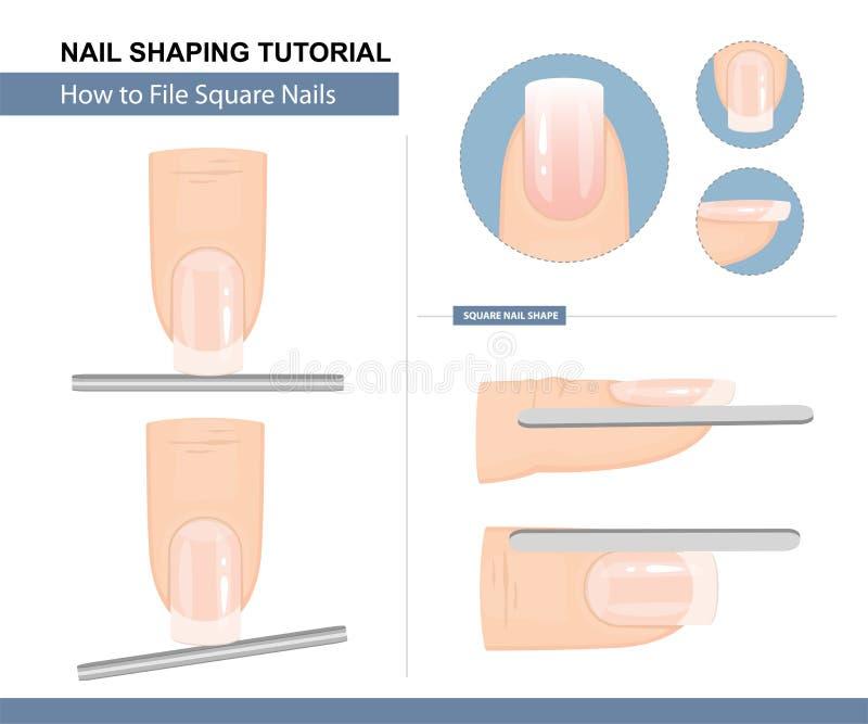 Spika att forma som ?r orubbligt Hur man sparar en fyrkant för att spika Shape Steg-f?r-steg anvisning vektor stock illustrationer