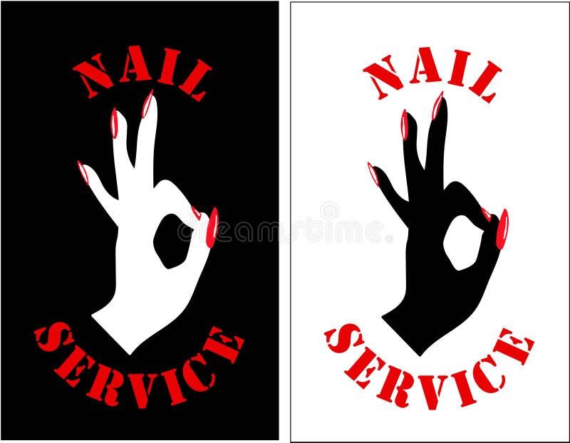 Spika mallen för studiologodesignen Mode spikar logoen, symbol För en skönhetsalong en modern symbol av en manikyr, innegrej, stock illustrationer