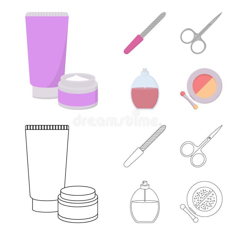 Spika mappen, sax för spikar, parfymerar, pudrar med en borste Fastställda samlingssymboler för makeup i tecknade filmen, översik royaltyfri illustrationer