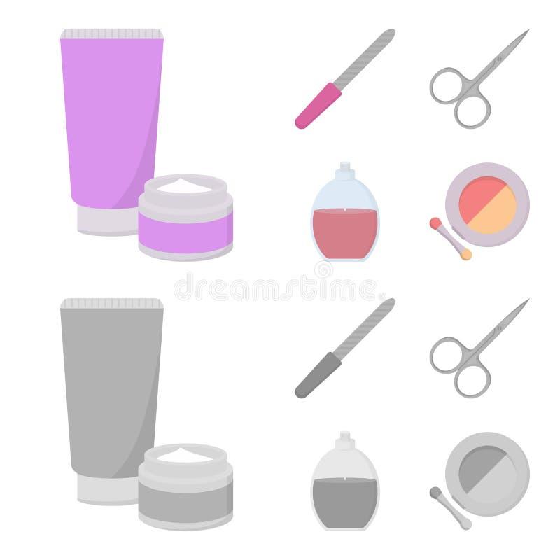 Spika mappen, sax för spikar, parfymerar, pudrar med en borste Fastställda samlingssymboler för makeup i tecknade filmen, monokro royaltyfri illustrationer