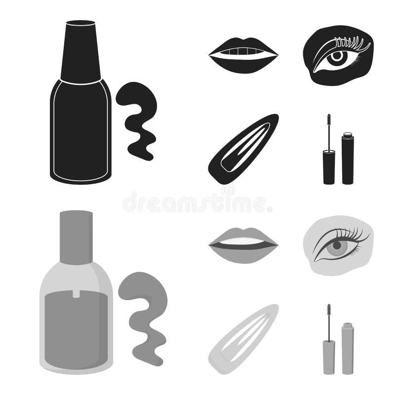 Spika polermedel, tonade ögonfrans, kanter med läppstift, hårgem Fastställda samlingssymboler för makeup i svart, monokrom stil vektor illustrationer