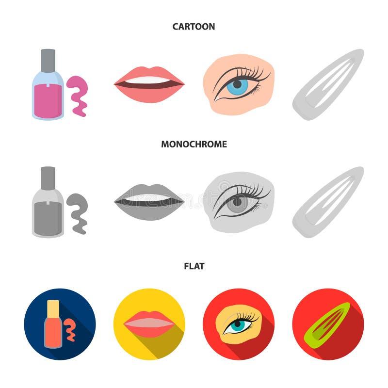 Spika polermedel, tonade ögonfrans, kanter med läppstift, hårgem Fastställda samlingssymboler för makeup i tecknade filmen, lägen royaltyfri illustrationer