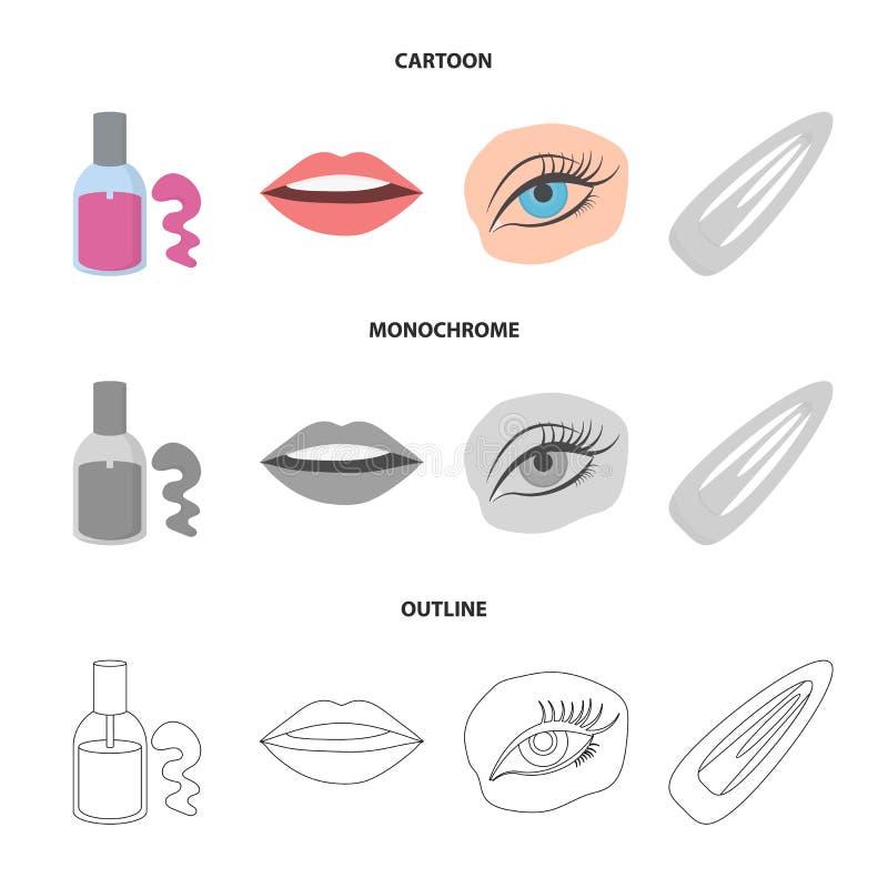 Spika polermedel, tonade ögonfrans, kanter med läppstift, hårgem Fastställda samlingssymboler för makeup i tecknade filmen, övers vektor illustrationer