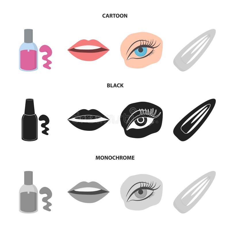 Spika polermedel, tonade ögonfrans, kanter med läppstift, hårgem Fastställda samlingssymboler för makeup i tecknade filmen, svart royaltyfri illustrationer