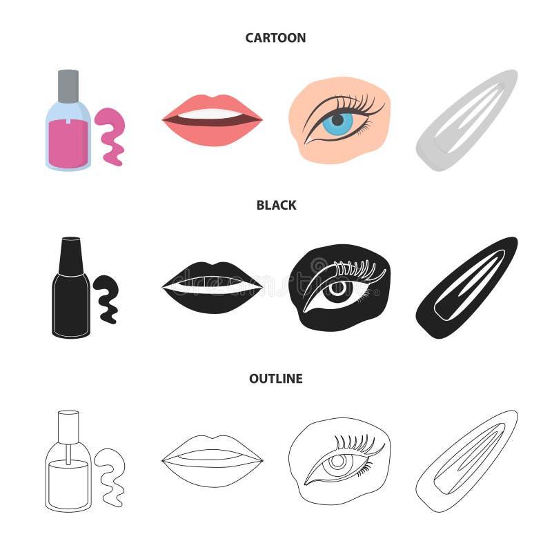 Spika polermedel, tonade ögonfrans, kanter med läppstift, hårgem Fastställda samlingssymboler för makeup i tecknade filmen, svart vektor illustrationer