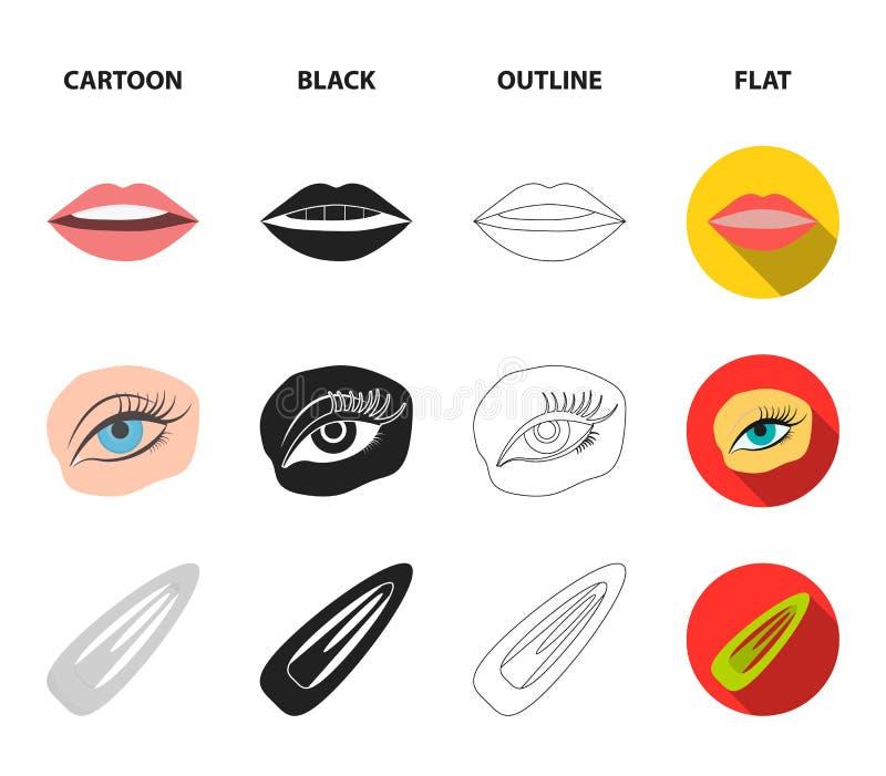 Spika polermedel, tonade ögonfrans, kanter med läppstift, hårgem Fastställda samlingssymboler för makeup i tecknade filmen, svart stock illustrationer