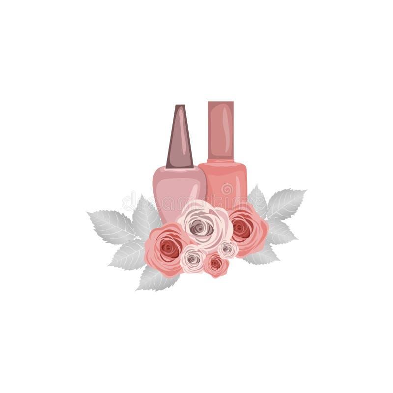 Spika vit bakgrund för polermedel med blommor, vektor stock illustrationer