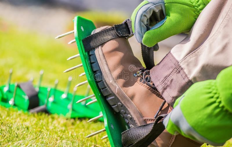 Spiked Aerator Shoes stock image