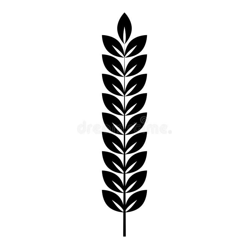 Spikelet pszenicznego rośliny gałąź ikony czerni koloru mieszkania stylu wektorowy ilustracyjny wizerunek royalty ilustracja