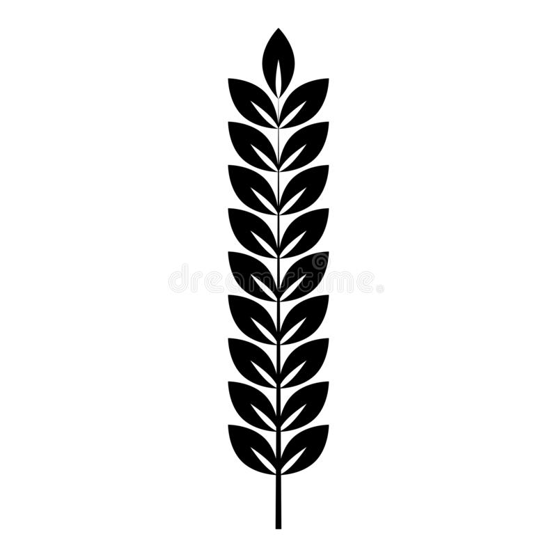 Spikelet of wheat Plant branch icon black color vector illustration flat style image. Spikelet of wheat Plant branch icon black color vector illustration flat royalty free illustration