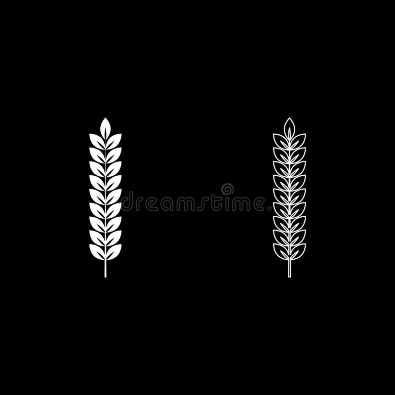 Spikelet of wheat Plant branch icon outline set white color vector illustration flat style image. Spikelet of wheat Plant branch icon outline set white color royalty free illustration