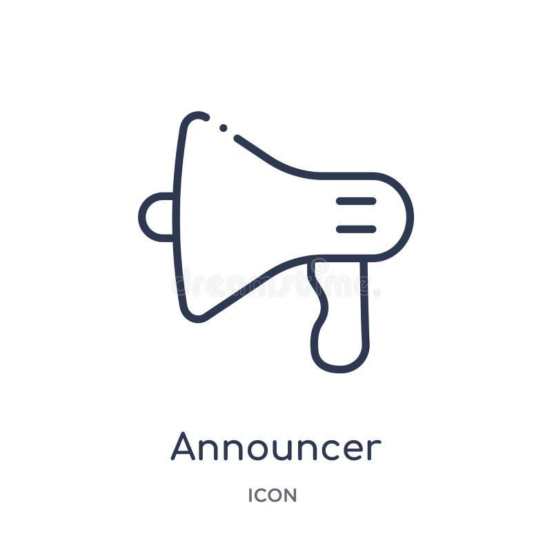 Spiker ikona od ludzi umiejętność konturu kolekcji Cienieje kreskową spiker ikonę odizolowywającą na białym tle ilustracji