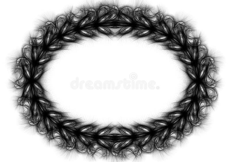 Spikes Oval Border Frame Wreath. Black and white spikes around a wreath forming an oval frame royalty free illustration