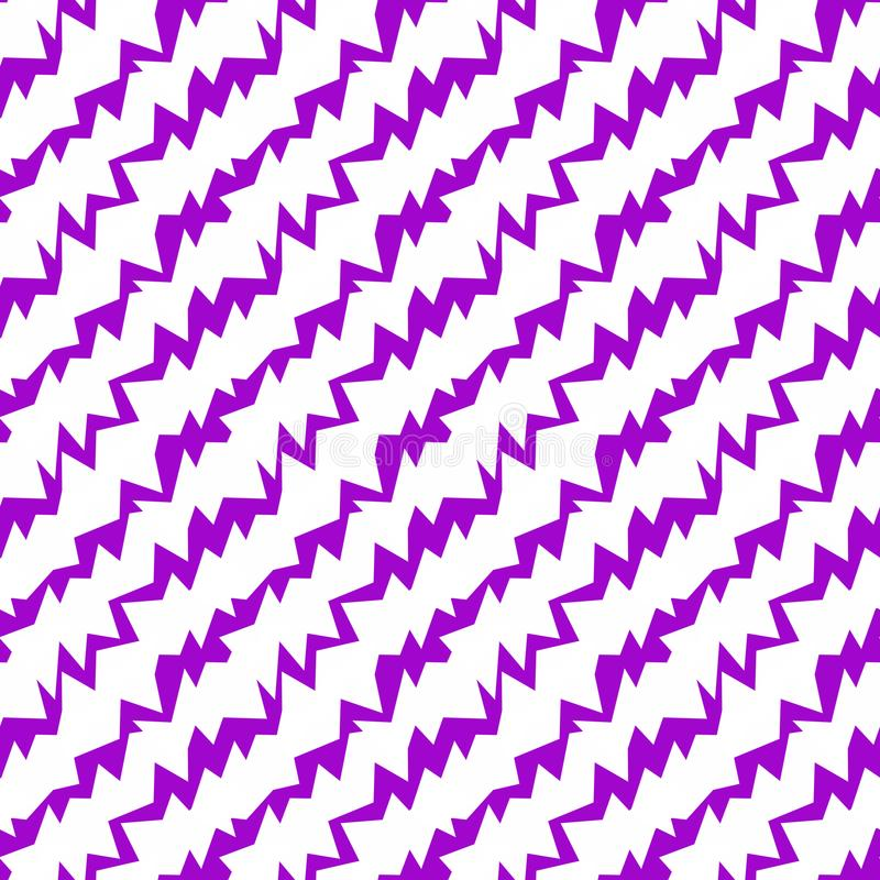 Spikes Purple Seamless Background Pattern. Purple spikes diagonal lines geometric pattern. Scratched cracks background seamless tile royalty free illustration